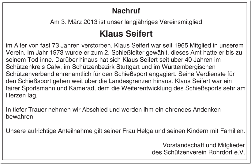 Klaus Seifert Nachruf