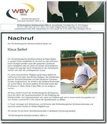 WSV Nachruf Klaus Seifert